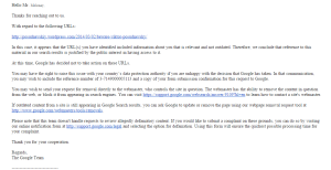 Automated reply from Google